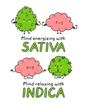 Il simpatico germoglio di cannabis infestante medita e mostra i muscoli con il cervello. illustrazione di linea piatta del personaggio dei cartoni animati di vettore. erba medica e cervello, marijuana indica, concetto di ceppi sativa