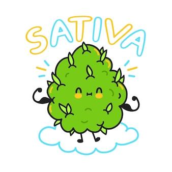 Simpatico germoglio di cannabis infestante. citazione sativa. illustrazione di linea piatta del personaggio dei cartoni animati di vettore. erbaccia, ceppi di marijuana, concetto di cannabis sativa