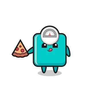 Simpatico cartone animato bilancia che mangia pizza, design in stile carino per t-shirt, adesivo, elemento logo