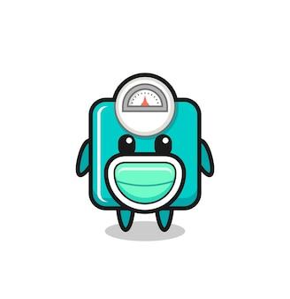 Simpatico cartone animato con bilancia che indossa una maschera, design in stile carino per maglietta, adesivo, elemento logo