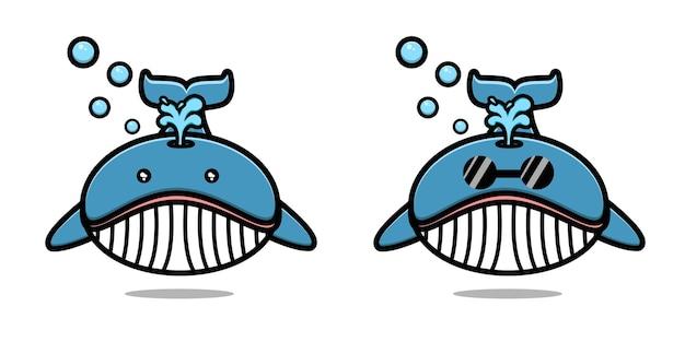 Simpatico cartone animato mascotte balena vettore