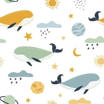 Simpatiche balene tra le nuvole e i pianeti. sfondo senza soluzione di continuità in colori pastello.