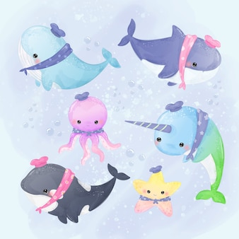Illustrazione sveglia delle creature del mare e delle balene nello stile dell'acquerello