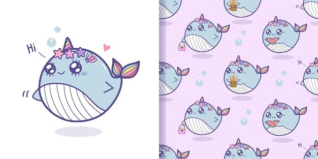 Fumetto senza cuciture del modello di unicorno carino balene.