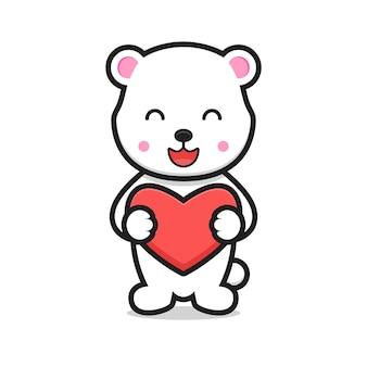 Simpatico orso bianco personaggio dei cartoni animati che tiene il cuore. disegno isolato su sfondo bianco