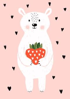 Simpatico orso bianco con fragola