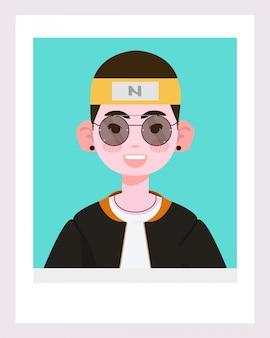 Ragazzo bianco carino o ragazzo asiatico illustrazione.