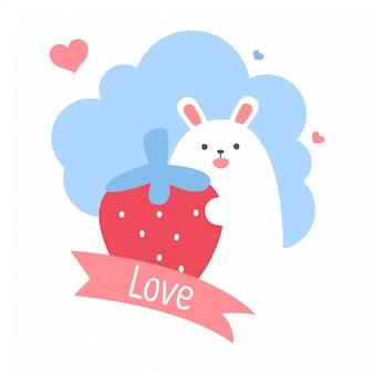 Simpatico coniglietto bianco di tag regalo quadrato