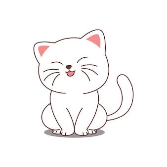 Simpatico gatto bianco seduto e sorridente cartone animato