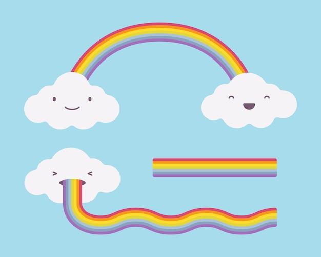 Nuvole bianche carine sul cielo azzurro e arcobaleno