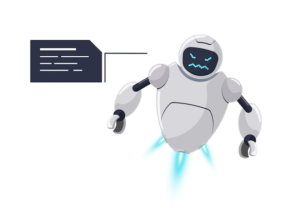 Simpatico personaggio di robot volante bianco arrabbiato. mascotte futuristica di chatbot furiosa con il fumetto. problema di comunicazione del bot diabolico online dei cartoni animati di tecnologia. l'assistenza robotica dell'ia parla di rabbia emozione. vettore eps