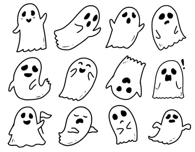 Simpatico fantasma bianco doodle disegno collezione di cartoni animati
