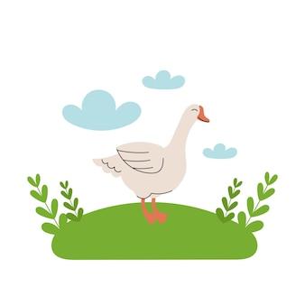 L'oca bianca sveglia sta nel prato. animali da fattoria del fumetto, agricoltura, rustico. semplice illustrazione piatta vettoriale su sfondo bianco con nuvole blu ed erba verde.