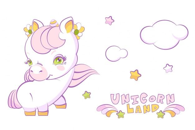 Unicorno bianco sveglio della bambina con capelli e le stelle rosa