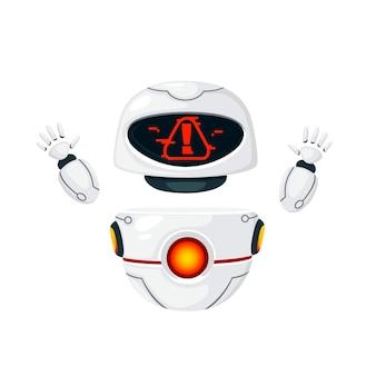 Simpatico robot levitante moderno bianco ha alzato le mani e con l'illustrazione piana di vettore del viso di avviso isolato su priorità bassa bianca.