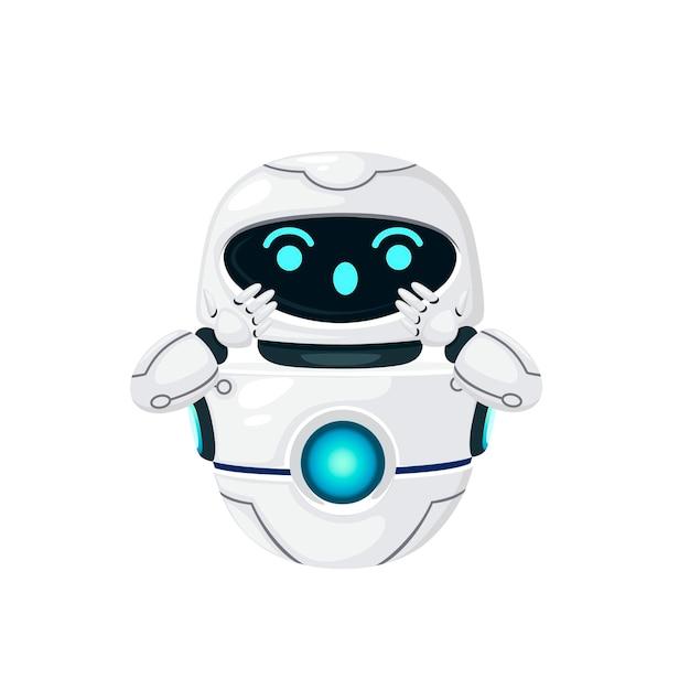 Simpatico robot levitante moderno bianco con illustrazione vettoriale piatta faccia felice isolato su sfondo bianco.