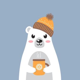 Simpatico orso polare bianco con un cappello caldo con una tazza di tè caldo su sfondo blu design moderno dei cartoni animati