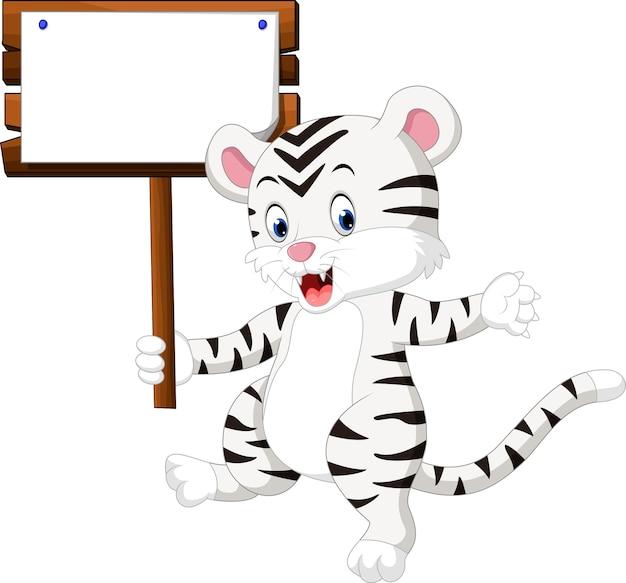 Simpatico cartone animato di tigre bianca