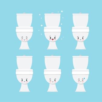 Set di emoji di vettore di tazza igienica bianca carina isolato su priorità bassa. carattere di emoticon dolce felice e triste della toilette del bagno in ceramica. illustrazione di stile kawaii del fumetto di design piatto.
