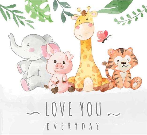Simpatico amico animale selvatico con illustrazione di slogan di amore