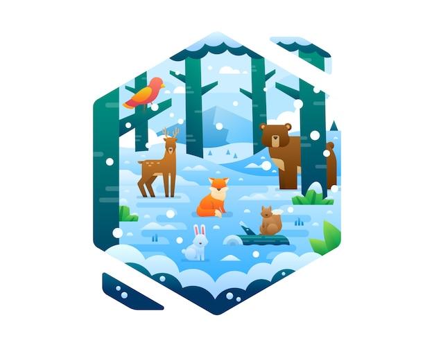 Collezione di animali d'inverno carino