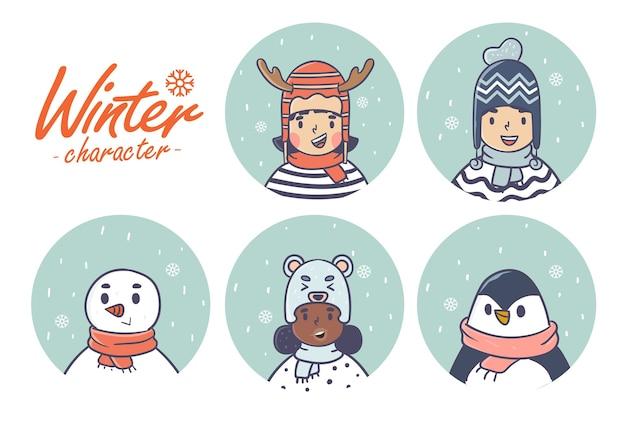 Collezione di simpatici personaggi invernali