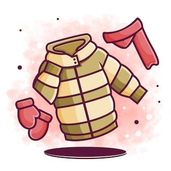 Illustrazione sveglia dell'elemento di disegno dei vestiti invernali (giacca, sciarpa, guanti)