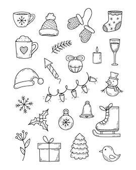 Simpatici scarabocchi invernali set di elementi vettoriali isolati di contorno in stile vintage