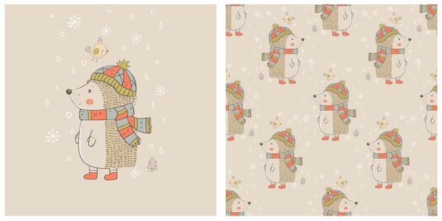 Simpatico riccio invernale con uccello e motivo senza cuciture disegnato a mano