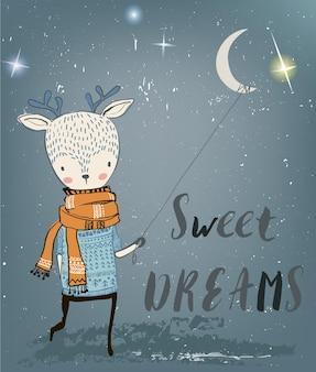 Il simpatico personaggio dei cervi notturni invernali in inverno si chiude