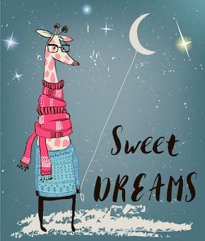 Il simpatico personaggio della giraffa della notte invernale in inverno si chiude