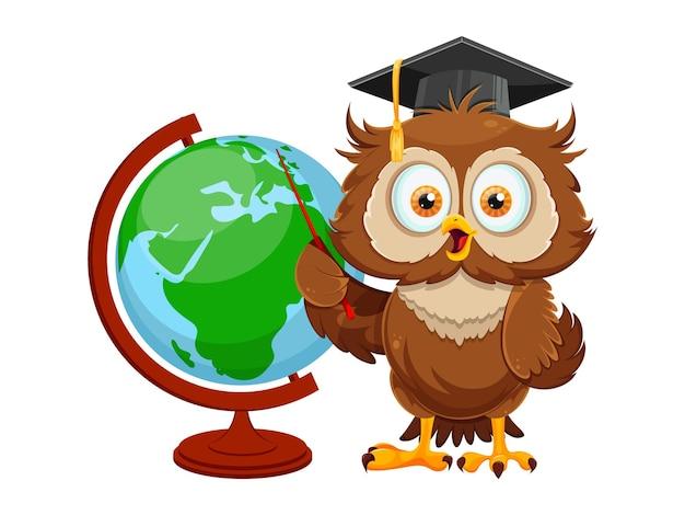 Simpatico gufo saggio in piedi vicino al globo. personaggio dei cartoni animati divertente del gufo, torna al concetto di scuola. illustrazione vettoriale su sfondo bianco