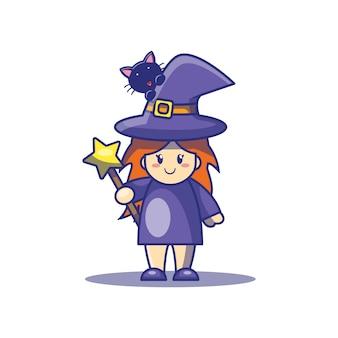 Illustrazione sveglia del fumetto del gatto e della strega. concetto dell'icona di hallowen.
