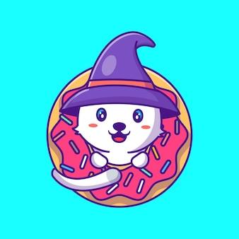 Gatto carino strega in ciambelle happy halloween cartoon illustration
