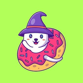 Simpatico gatto strega in ciambelle illustrazioni di cartoni animati di halloween felice