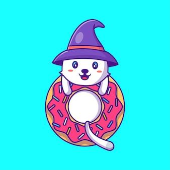 Gatto carino strega con ciambelle happy halloween cartoon illustration