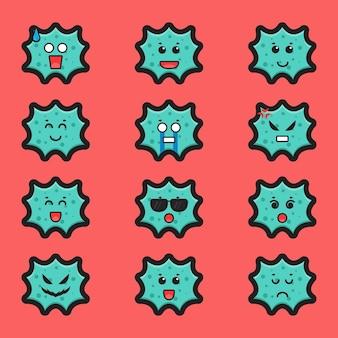 Simpatico personaggio di strega lotta contro l'icona di vettore del fumetto del virus. disegno isolato su bianco. stile cartone animato piatto. Vettore Premium