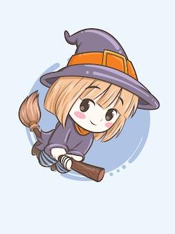 Strega carina sta volando usando un manico di scopa magica - illustrazione del personaggio dei cartoni animati per halloween