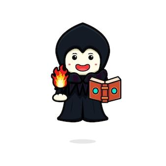 Il mago sveglio della strega ha lanciato l'illustrazione dell'icona del fumetto dell'incantesimo di fuoco. design piatto isolato in stile cartone animato