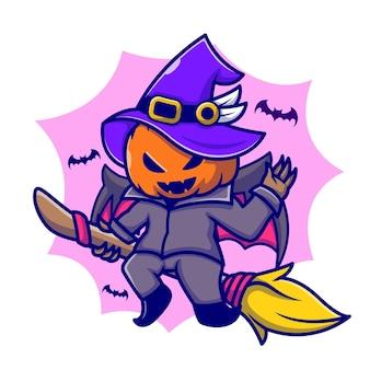 Illustrazione sveglia dell'icona del fumetto della scopa magica di guida della zucca della strega. concetto dell'icona di festa di halloween isolato. stile cartone animato piatto
