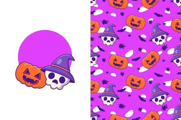 Simpatico teschio strega e zucca felice halloween con motivo senza cuciture