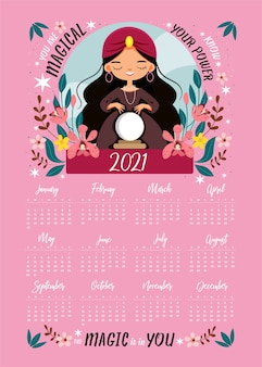Cute witch incantesimi la magia in un cartone animato di cristallo e un calendario
