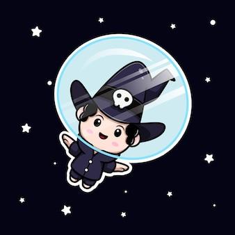 Simpatico mago che galleggia sul personaggio avatar da favola dello spazio. illustrazione dei cartoni animati