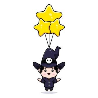 Simpatico mago galleggiante con personaggio avatar da favola con palloncino stella. illustrazione dei cartoni animati