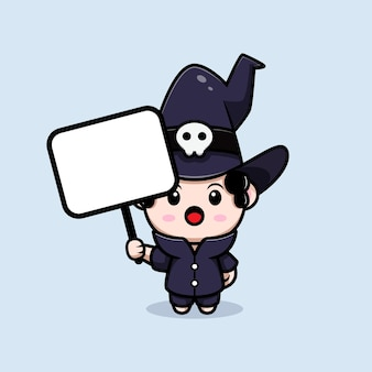 Stregone sveglio che tiene il carattere dell'avatar di favola della scheda di testo vuoto. illustrazione dei cartoni animati