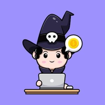 Simpatico mago investimento sul personaggio avatar da favola di criptovaluta. illustrazione dei cartoni animati