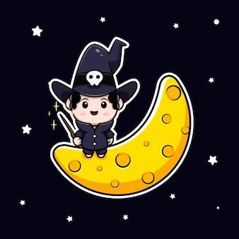 Simpatico mago seduto sul personaggio avatar da favola della luna. illustrazione dei cartoni animati