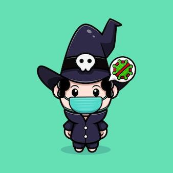 Simpatico mago che indossa una maschera per prevenire il personaggio avatar da favola del virus. illustrazione dei cartoni animati