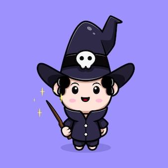 Simpatico mago con personaggio avatar da favola del bastone magico. illustrazione dei cartoni animati