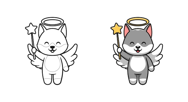 Simpatici disegni da colorare di cartoni animati di angelo lupo per bambini Vettore Premium